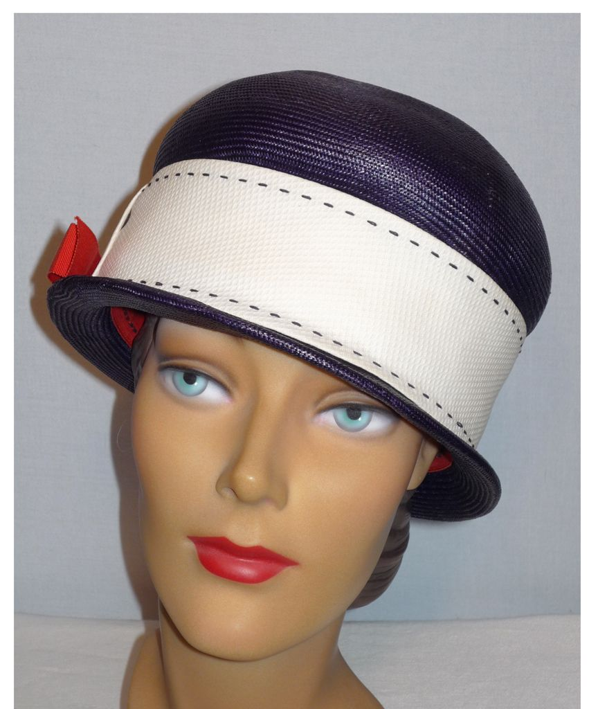 Vintage 1960's Navy Blue Straw Bowler Style Hat Designed by Mr. John Classic