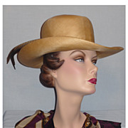 SALE 1980's Straw Hat with Pheasant Feathers Designed by Adolfo II