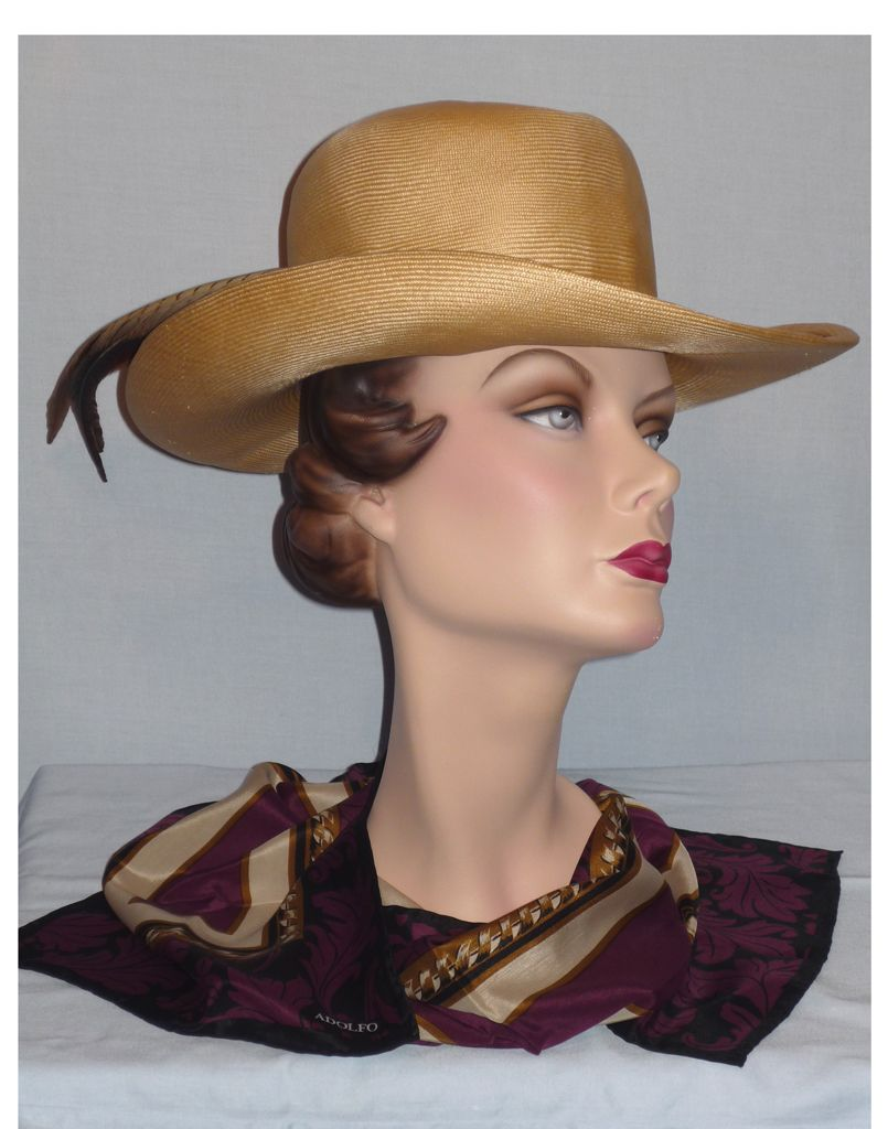 1980's Straw Hat with Pheasant Feathers Designed by Adolfo II