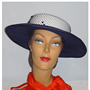 SALE 1980's Navy and White Church Hat Designed by Ruth Kropveld for Chapeau Creations