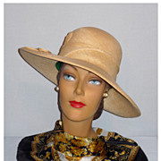 Vintage 1970's Woven Natural Straw Brimmed Hat Designed by Mr John Jr.