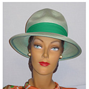 Late 1960's Mint Green Summer Woven Straw Hat Designed by Studio Fashions