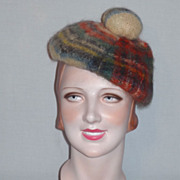 Vintage Mohair and New Wool Plaid Tam Made in Scotland