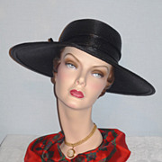 SALE 1960's Spectacular Black Straw Wide Brim Picture Hat