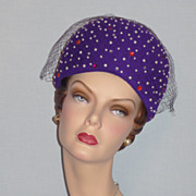 1980's Purple Wool Jewel Encrusted Bubble Toque Hat Designed by Jack McConnell Boutique