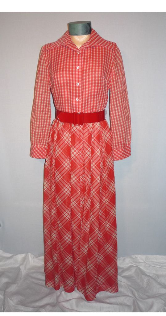 1960's Red and White Two Patterned Check Evening Dress