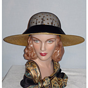 1980's Wide Brim Metallic Gold Straw Hat Designed By Sandra, New York