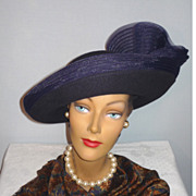 1980's Fancy Navy Blue Wool Felt Halo Hat Designed by Mr. John Classic