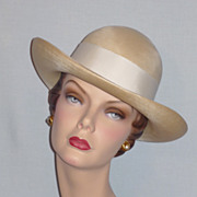 1960's Beautiful Finely Woven Straw Hat Designed by Frank Olive