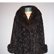 SALE Late 1960's-Early 1970's High Fashion Coat With Genuine Fox Fur Collar and Cuffs Styled b
