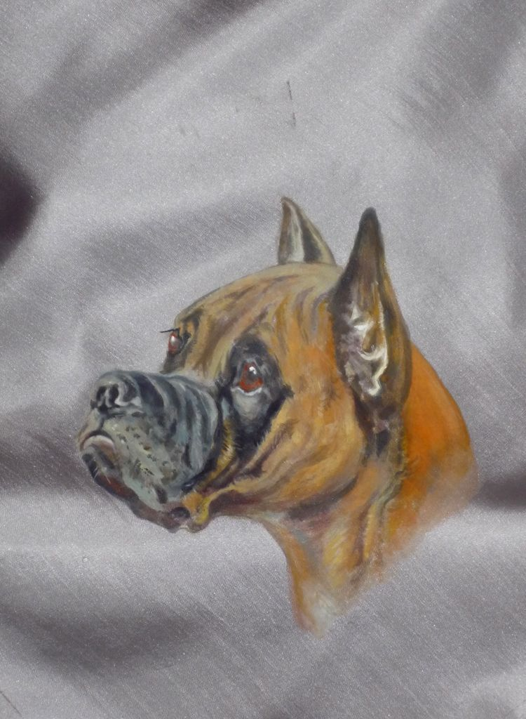 Vintage Silk Scarf With Hand Painted Portrait of a Boxer