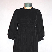 1960's Long Lush Black Velvet Empire Waist Opera Coat