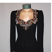 Vintage 1970's Black Knit Dress With Spectacular Beaded Neckline Designed By Lillie Rubin