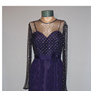 1970's Navy Blue Moire Taffeta Evening Gown With Rhinestones by Rose Taft for Couture Fashions