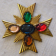 Miriam Haskell Maltese Cross Brooch/Pin With Multi-Color Glass Cabachons