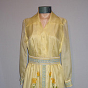 1970's Yellow Floral Evening Dress Designed by Alfred Shaheen