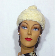 Late 1950's-Early 1960's White Persian Lamb Hat Designed By Lilly Dache