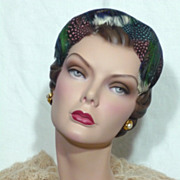 Late 1950's-Early 1960's Beautiful Feather Hat Designed by Mr. Milton for Bonwit Teller, Phila