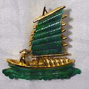 SOLD 1970's Chinese Junk Brooch Signed Hattie Carnegie