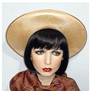 1980's &quot;Gigi&quot; Style Woven Natural Straw Hat Designed by Fedoria, Made in England