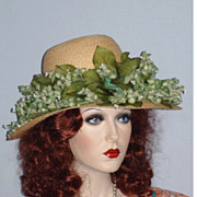 Late 1960's Floral Wide Brim Straw Hat Designed by Christian Dior, Sold at Robinson's, Califor