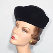 1960's Black Velvet Hat Designed By Sally Victor Boutique and Originally Sold at Montaldo's