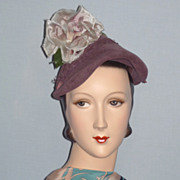 1940's Sculpted Mauve Velour Hat With Rose Detail, Reproduction of Original Jacques Fath, Pari