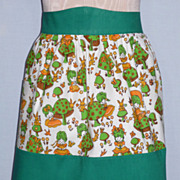 1960's Mushroom Print Cotton Apron
