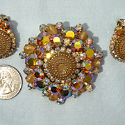 Gorgeous 1960's D & E Juliana Birthday Cake Brooch and Earrings Demi Parure