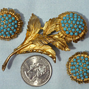 Late 1960's-Early 1970's Floral Brooch and Earrings Signed Hattie Carnegie