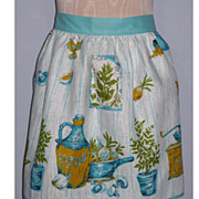Cute 1960's Kitchen Print Linen Apron