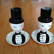 SALE Napco Ceramic Egg Cup w/Top Hat Salt Shaker - Man in Tuxedo - Marked