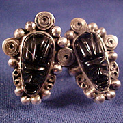 Mexican Silver Black Glass Tribal Aztec Face Mask Vintage Earrings