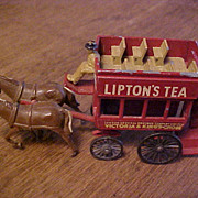 Lipton's Tea Diecast Toy Horse Drawn Bus Wagon - Lesney - Matchbox