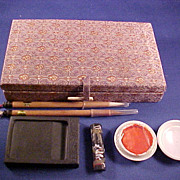 Chinese Calligraphy Set in Brocade Case  with Two Pens