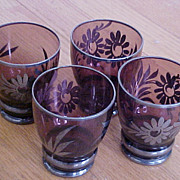 Amethyst Tumbler Juice Glasses Footed-Silver Bands & Flowers - Set of 6