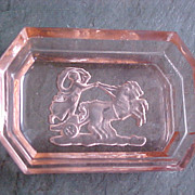 Pink Depression Glass Intaglio Open Salt  - Roman Gladiator Chariot