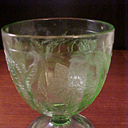 Depression Jeannette Glass Co. Green Poinsettia Floral Candy Jar