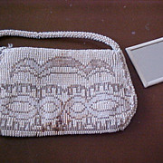 Czechoslovakia Art Deco Beaded Handled Purse Bag with Mirror