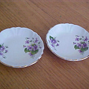 Butter Pats - Windsor Bone China From England - Violet Flowers
