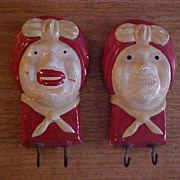 Chalkware Hand Painted Aunt Jemima Style Faces - Wall Plaques