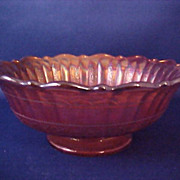 SALE Fenton Stippled Ray Carnival Scale Band Marigold Berry Fruit Bowl