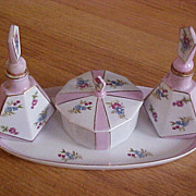Dainty Hand Painted Porcelain Dresser Set -Tray, Perfume Bottles, Trinket Box- Japan