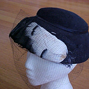Henry Pollack 100 % Wool Womens Hat with White & Black Feathers