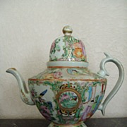 SOLD Antique Chinese Rose Canton Coffee Pot