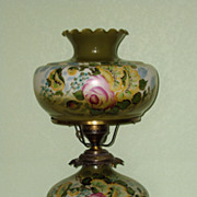Vintage Hurricane Lamp, Hand Painted