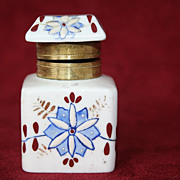 Blue and White Antique Floral Porcelain Inkwell