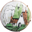 Hand-Painted Porcelain Brooch With A Country Cottage Scene