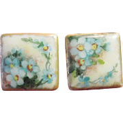 "Artist-Signed Hand-Painted Porcelain Square  ""Forget-Me-Not"" Victorian Cufflinks"