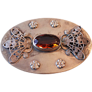 Fabulous Large Victorian Brass and Amber Brooch Circa 1880